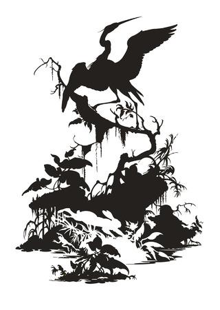 Der schwarze Reiher sitzt auf einem Baum, weißen Hasen und Frosch Vektorgrafik