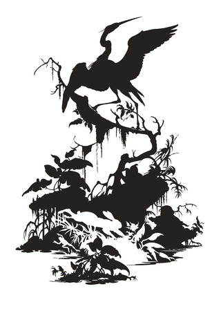 The black heron sitting on a tree, white hare and frog