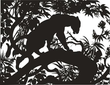 Silhouet van een panther staande op een boomtak   Stock Illustratie