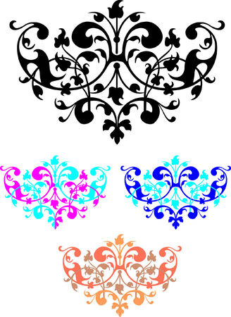kleurrijke vignetten op een witte achtergrond
