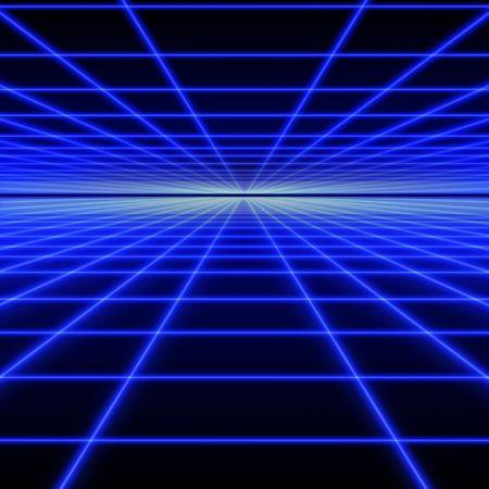 Cuadrícula de perspectiva de rayos luminosos azules sobre fondo negro