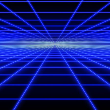 Perspectief raster van blauwe licht stralen op zwarte achtergrond