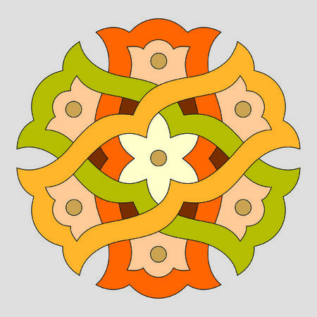 twisted colored circle on a gray background Illustration
