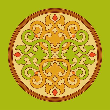 gekleurde cirkel op een groene achtergrond twisted Stock Illustratie