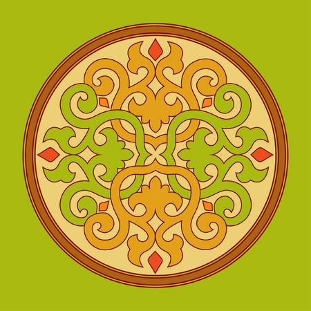 twisted colored circle on a green background