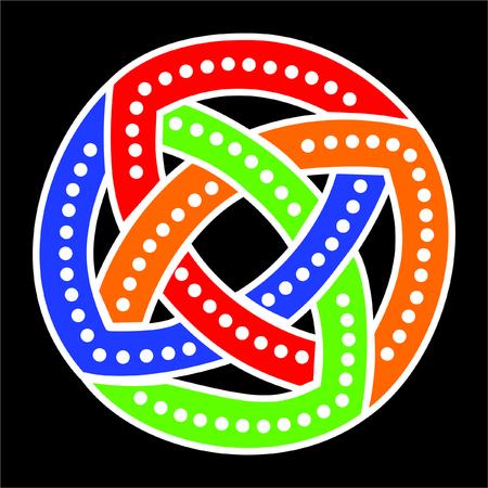twisted gekleurde cirkel op een zwarte achtergrond Stock Illustratie