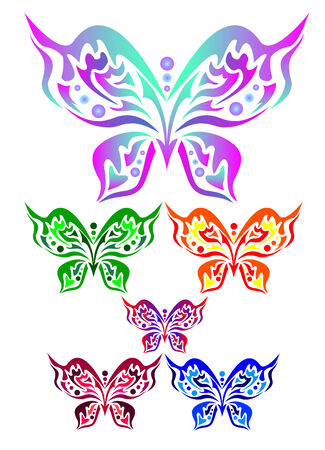 Six colored butterflies on a white background