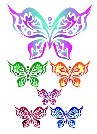 Zes gekleurde vlinders op een witte achtergrond Stock Illustratie