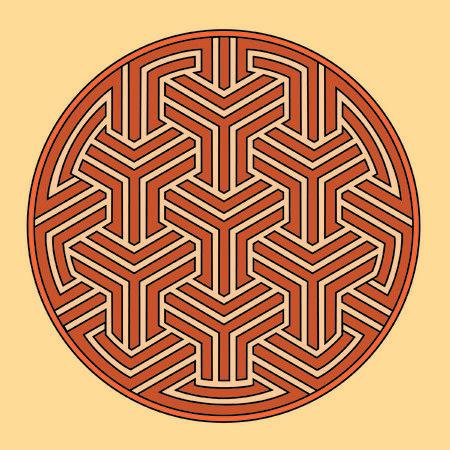 gekleurde cirkel op beige achtergrond twisted