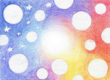 Kleurovergang Regenboog getekend met kleurpotloden en witte cirkels