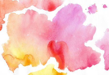 pink, yellow, watercolor spots on a white background