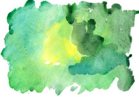 Aquarel groene vlekken op een witte achtergrond  Stockfoto