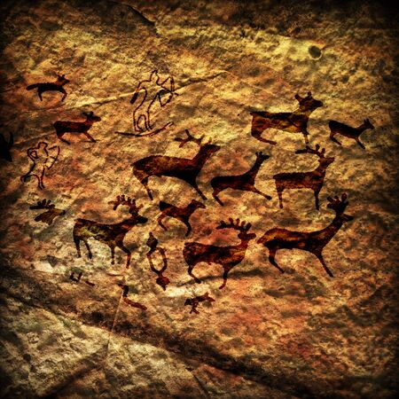 eenvoudige rots tekeningen op de stenen muur