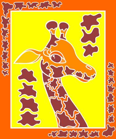 vector decoratieve giraffe op een gele achtergrond in het frame