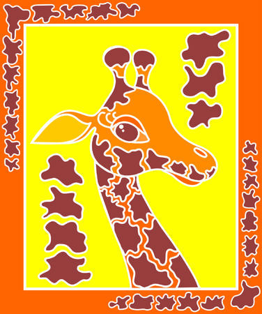 vector decorative giraffe on a yellow background in the frame
