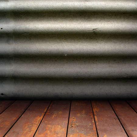 textuur van lei steen muren en houten vloer Stockfoto