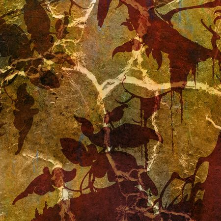 Silhouette of plants and trees on the background of colorful grunge