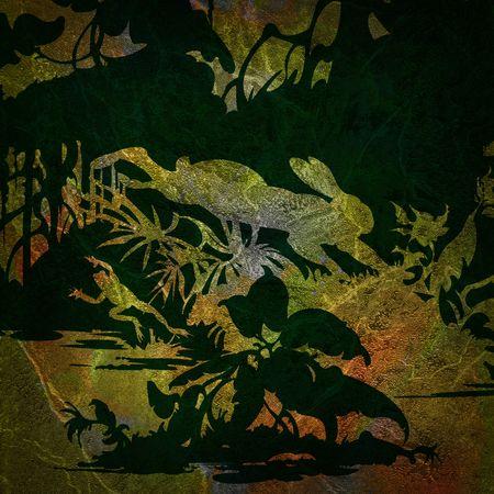 Silhouet van een konijn en een kikker op een achtergrond van gekleurde grunge Stockfoto