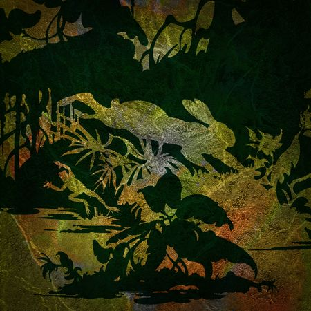 Silhouette of a rabbit and a frog on a background of colored grunge