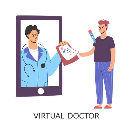 Get sick leave using your smartphone. The virtual doctor writes a prescription, quarantine. Mobile consultation, smart medical assistance. Modern telemedicine, Cartoon character, vector on a white Illustration