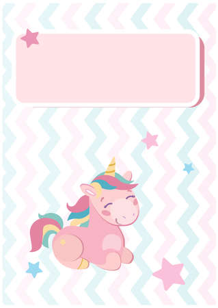 Stylish postcard with a delicate pink unicorn for the baby. Stars and zigzags around the horses are multi-colored purple, pink, blue . Vector illustration for kids. Holiday invitation, congratulation.