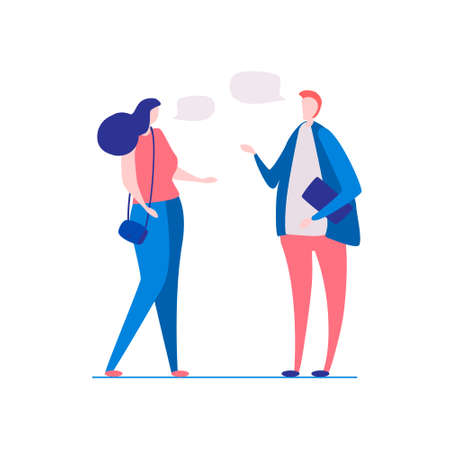 a man and a woman talking. A break in work, a in college. Cute conversation of students, freelancers. Vector Illustration, flat style, isolated on white background