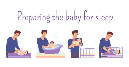 Dad prepares baby for bed:changes the diaper for the baby,bathes in the bathtub with foam and duck,feeds it from the bottle and puts it in the bed.Dad on maternity leave takes care of newborn. Vector Иллюстрация