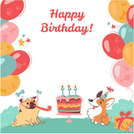 Happy birthday greeting card with funny dogs. Pug and corgi, cake, gifts, colorful balloons on isolated white background. Vector poster in cartoon style,.with an festive inscription. Ilustracje wektorowe