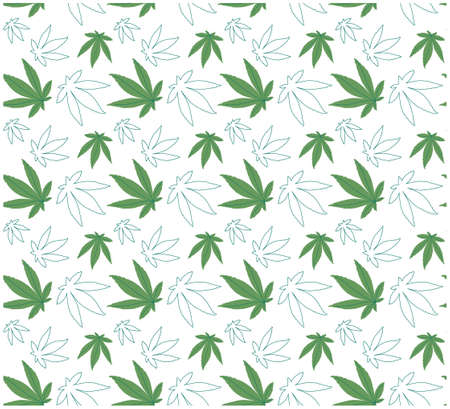 seamless vector pattern Green cannabis leaves. Flat style, line art.Isolated on a white background. Wallpaper, packaging, print for textiles.