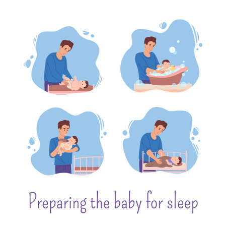 Dad stayed home and prepares the baby for bed: he changes the diaper for the baby, bathes him in the bath,feeds him from the bottle and puts him in bed.Father spends time with his son.Vector Home Vettoriali