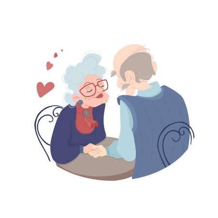 Poster Elderly people sit at the table and gently hold hands.The inscription Take care of each other. Stay at home.Quarantine together, prevention of coronavirus COVID-19.Vector poster in a flat style