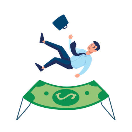 The insurance company provides protection. Financial support for laid-off workers, small businesses, people who were left without money at time of the crisis in economy. A airbag, Vector flat isolated Illustration