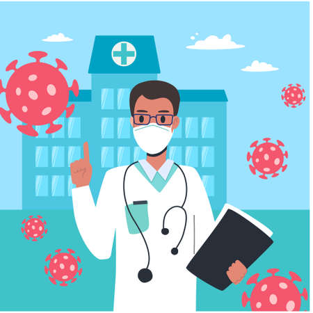 A doctor in a white coat and medical mask warns of the dangers of coronavirus. Virologist man on the background of the hospital gives recommendations, Vector in cartoon style