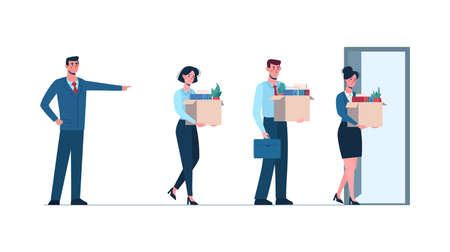 Boss fires employees. Fired men and women leaves the office with a box in his hands. Job loss due to covid-19, economic decline. Dismissed employees goes to door to exit office. Unemployment Vector