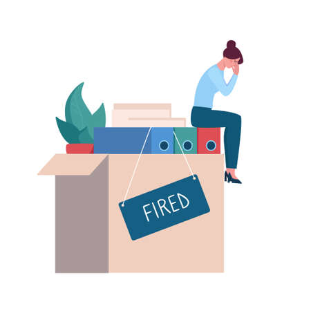 Fired woman crying in the office on the box with things, depression. Job loss due to crisis, contraction, coronavirus, economic decline. Dismissed employee, unemployment . Vector flat, isolated.