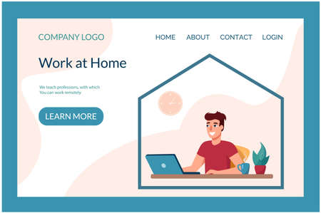 Web page template for a site dealing with trained remote specialties. .Man working on a laptop from home. Vector illustration Work at home, flat style.