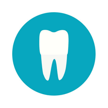 Modern, minimalist icon tooth. Vector logo for dentists. Symbol for mobile interface, flat .illustration on a blue round background. Vettoriali