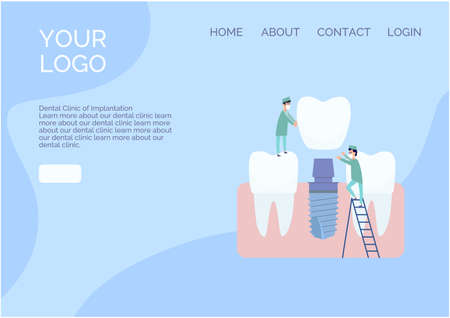 Vector website design in a flat style. Two implantologist doctors install a dental implant: put a crown on the abutment. Healthy teeth nearby. Blue and white colors, cartoon style clip art. Vettoriali