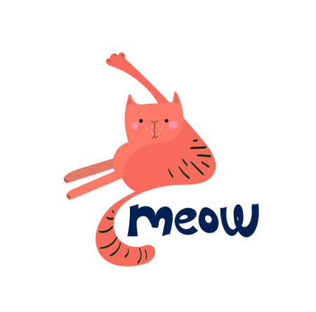 Funny vector kitten raising its paw up to wash. Hand-drawn cat for print, fabric, t-shirts, posters. Cute face, mustache, paws, tail, stripes on a white background. Lettering meow.