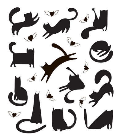 Trendy vector set of freehand drawn cat shapes for print, textile, t-shirts, cards, stickers, posters. Illustration of black and white kittens who sleep, play, run and hearts with wings.