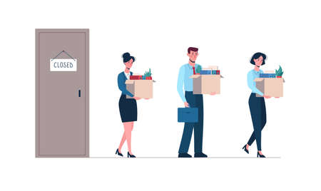 Dismissed employees leave the closed enterprise. Vector illustration of job loss. Men and women with boxes in their hands became victims of unemployment, fired. Isolated on a white background, flat