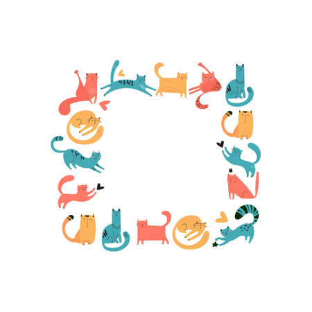 Square frame of hand-drawn cats for print, textile, t-shirts, posters. Vector pets of different colors play, sit, walk, sleep. Cute faces, mustache, paws, tails. Frame design on a white background different colors play, sit, walk, sleep. Cute faces, mustache, paws, tails. Frame design on a white background. Vector illustration