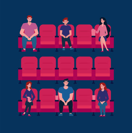 Social distance in the cinema. Vector flat. There are few people in the Cinema Hall, virus protection. People keep their distance, sit through one chair, safe. Girls and men watch a movie, eat popcorn Ilustração