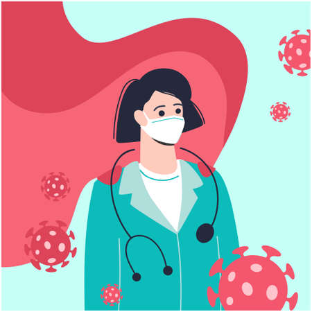 doctor-female in a medical mask and a red cloak. Doctor is a modern super hero. Bacteria around the nurse. Vector in cartoon style. Covid-19 coronavirus pandemic. Isolated