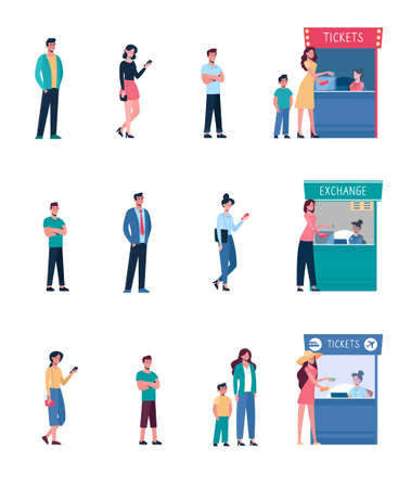 Set People keep their distance when they stand in line at the cinemas ticket office, at currency exchange. Social safe distance between people so as not to spread the virus. Men, women. vector, flat