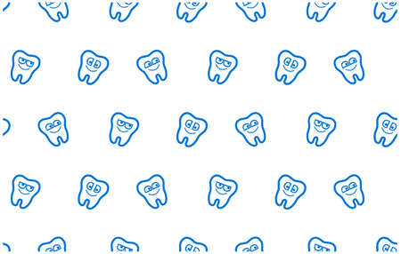 Vector seamless cute pattern with fairy magic teeth. Cute Tooth character can be used for pediatric dentistry.