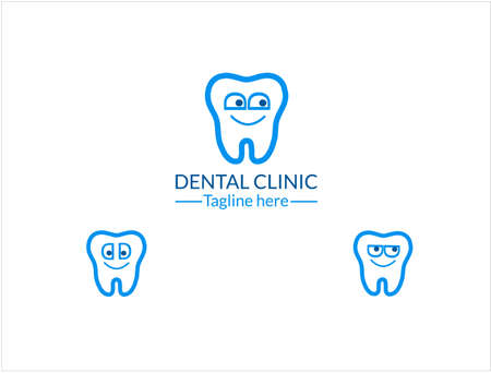 Linear vector  for childrens dental clinic. Characters teeth in a linear minimalist style.