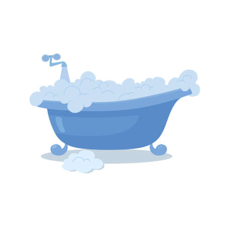 Blue bath with foam, open faucet, flowing water. Vector, flat Illustration