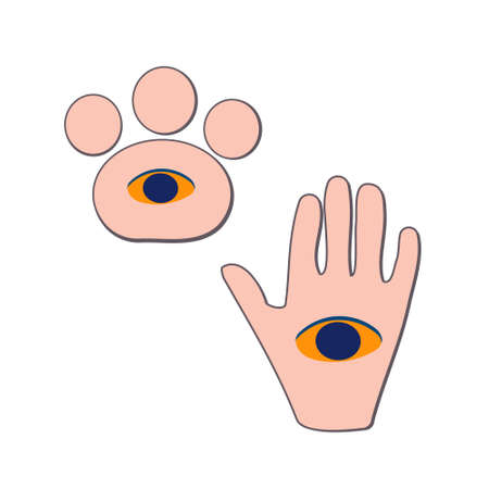A mystical illustration demonstrating fortune-telling. Fortuneteller predicts the future. Attributes of occultism. .hand and dog paw with eyes. Isolated vector on white background Vectores