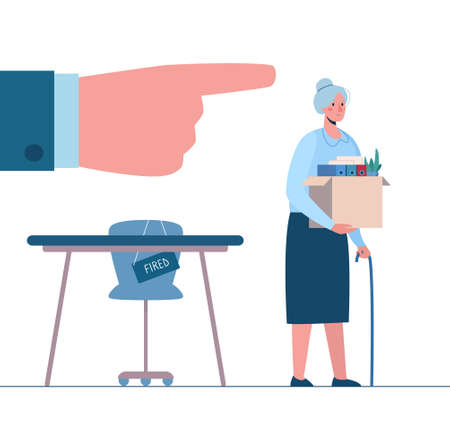 Retirement. Fired old person leaves the office with a box in his hands. Woman without work. Vector, flat. Dismissed employee, unemployment. Job loss due to crisis, robotics, economic decline.